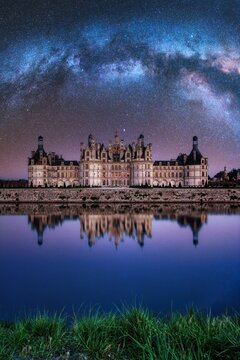 The castle of Chambord at night, Castle of the Loire, France