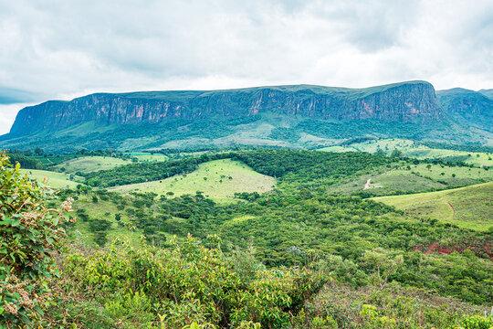 Brazilian eco tourism landscape of Minas Gerais state at Serra da Canastra region, at São Roque de Minas city. Far view of the sierra on a cloudy day.