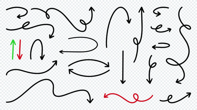 Hand drawn wavy arrows collection on transparent background