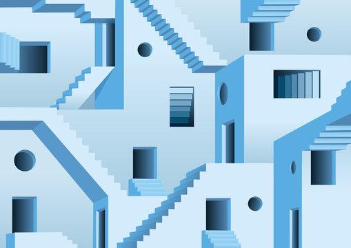 Concept du labyrinthe surréaliste avec un dédale fait de portes et d'escaliers rendant un sortie impossible.