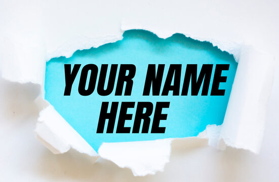 Your name here text on paper.