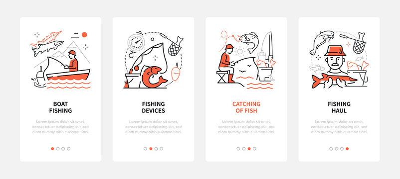 Fishing - modern line design style web banners