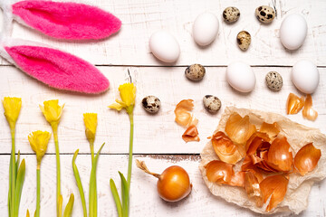 Easter eggs painted with natural dye, onion husk on a white wooden background and yellow spring flowers Narcis