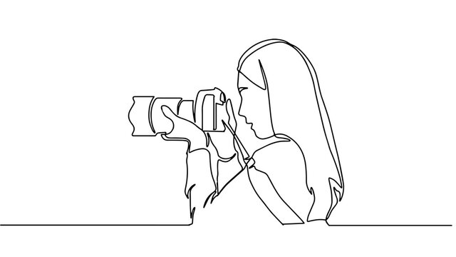 A girl taking photo with her camera. One line continuous. Vector illustration. Photographer with a camera takes pictures outdoors. Continuous line drawing of a black outline of a journalist.