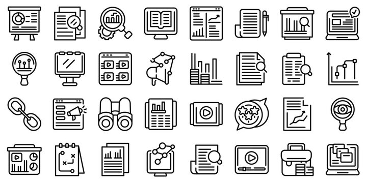 Market studies icons set. Outline set of market studies vector icons for web design isolated on white background