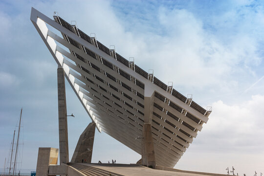 Solar panels located in the port of Barcelona
