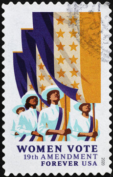 Woman suffrage celebration on american postage stamp