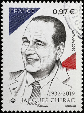 President Jacques Chirac on french stamp