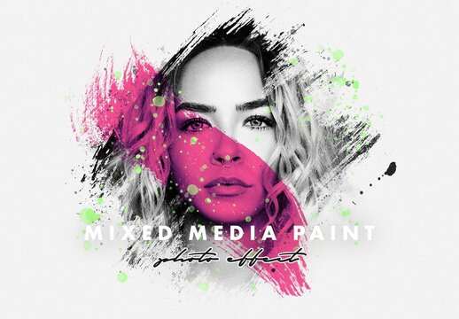 Mixed Media Paint Photo Effect Mockup