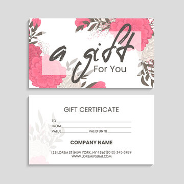 Set of colorful gift cards template. Modern style vector illustration of flowers for saloon, gallery, spa, shop. Gift voucher