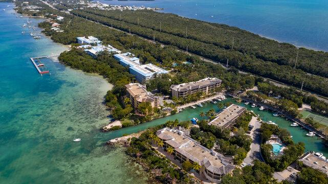 Aerial Buttonwood Bay Key Largo Florida Keys