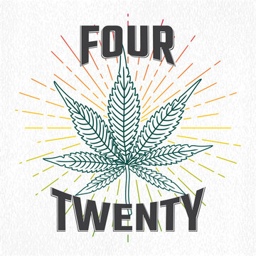 Four Twenty Logo Lettering with Detalized Marijuana or Cannabis Leaf as 420 Celebration Smoking Concept - Multicolor on Texturized Paper Background - Hand Drawn Design