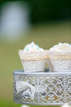 Outdoor wedding reception with cake and cupcakes catered to the guests