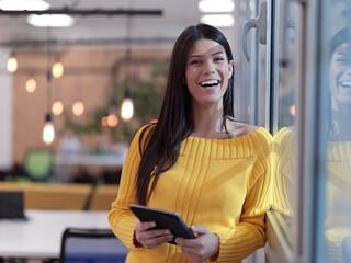 Fototapeta business woman portrait in open space startup coworking office obraz