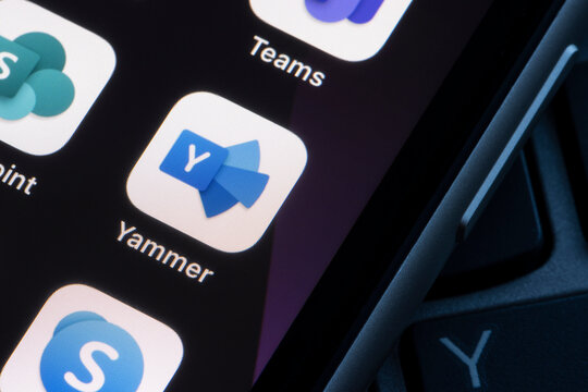Portland, OR, USA - Mar 29, 2021: Microsoft Yammer app icon is seen on an iPhone. Yammer is a collaboration tool that helps users connect and engage across the company.