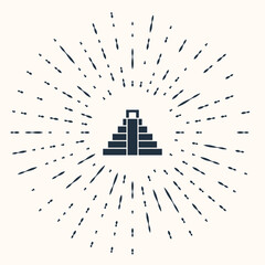 Grey Chichen Itza in Mayan icon isolated on beige background. Ancient Mayan pyramid. Famous monument of Mexico. Abstract circle random dots. Vector