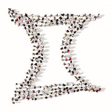Concept or conceptual large gathering  of people forming an gemini zodiac sign on white background. A 3d illustration symbol for  esoteric, the mystic, the power of prediction of astrology