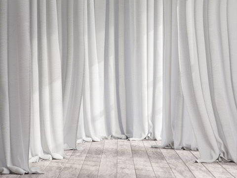 Old wooden floor with white cotton fabric background 3d render