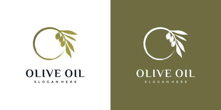 Olive oil combined with the letter O, natural, healthy, logo design inspiration