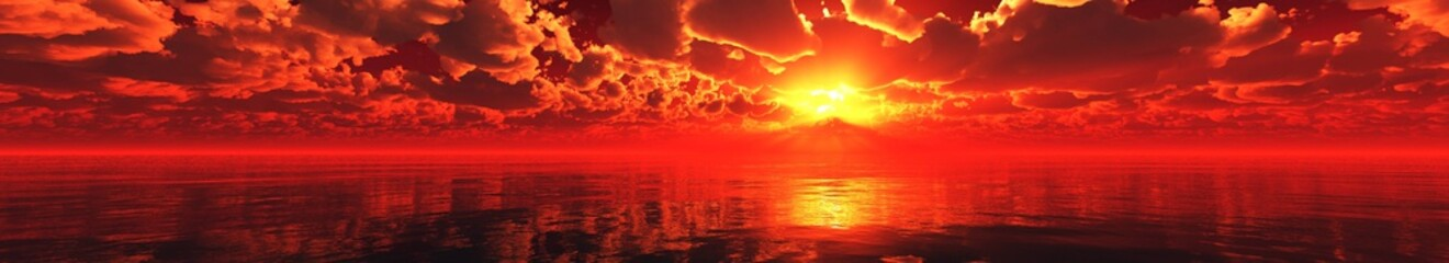 Beautiful sea sunset, panorama of the ocean at sunset, sunrise over the sea,, 3d rendering