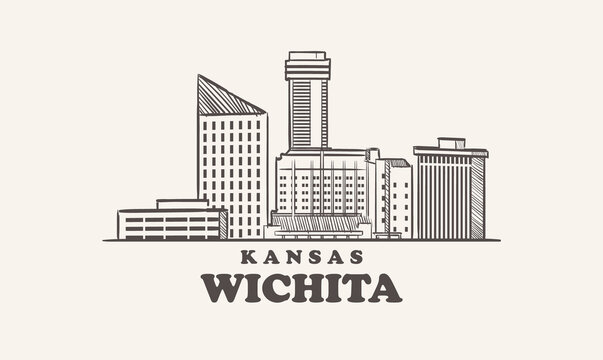 Wichita skyline, kansas hand drawn sketch city