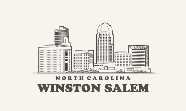 Winston Salem skyline, north carolina drawn sketch