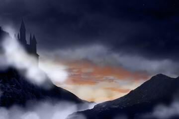 Obraz Fantasy world. Mystical castle and mountains covering with fog in night - fototapety do salonu
