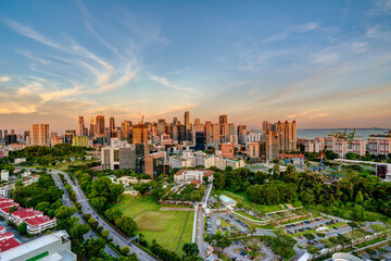 HDR image of Singapore central area city view at dusk.