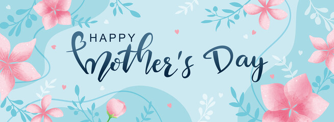 Happy Mother's Day poster and banner template with flowers on light blue background. Vector illustration for women's day, shop, invitation, discount, sale, flyer, decoration. Fototapete