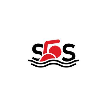 SOS lettering. Man overboard, creative logo design.