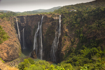 Waterfalls in India, A Bewitching view of  one of the highest cascades in the country and is a perfect destination for the tourists visiting Karnataka. Wall mural