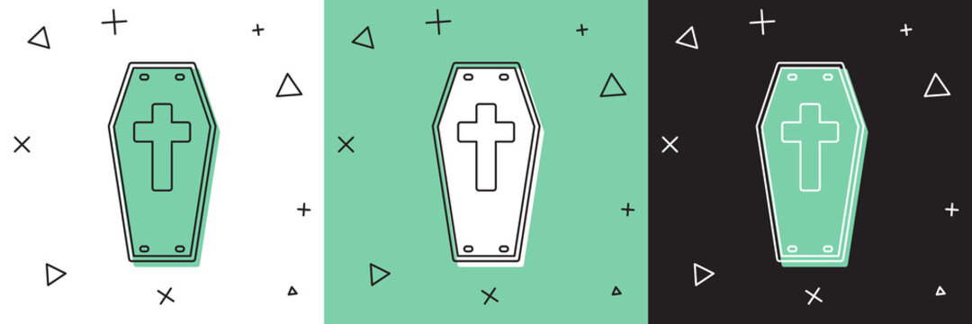 Set Coffin with christian cross icon isolated on white and green, black background. Happy Halloween party. Vector