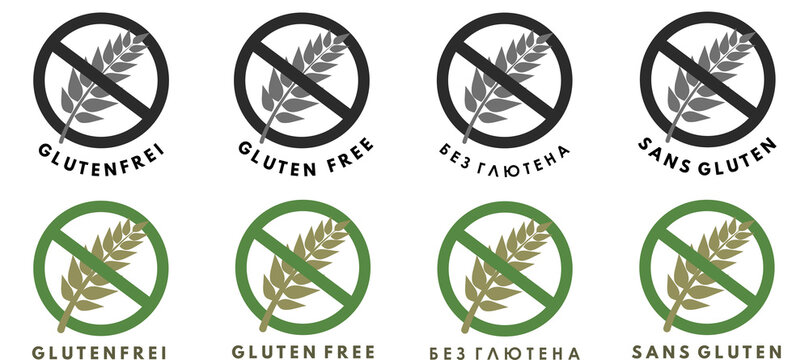 Gluten free product set icon. Collection of grain Free Wheat