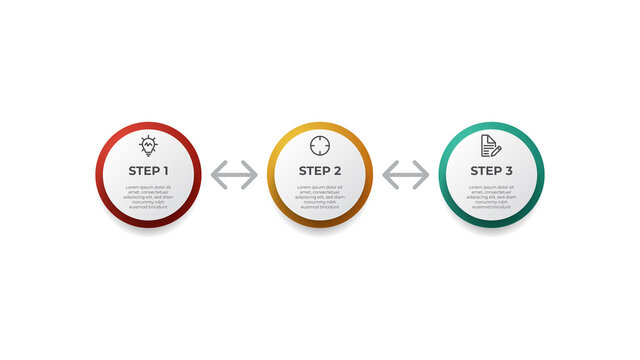 3 looping points of steps diagram layout, business infographic element template vector