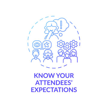Knowing attendees expectations concept icon. VE marketing idea thin line illustration. Wow factor. Providing full satisfaction. Quality service. Vector isolated outline RGB color drawing