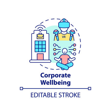 Corporate wellbeing concept icon. Future office design idea thin line illustration. Improving work life balance. Employee-centric company. Vector isolated outline RGB color drawing. Editable stroke