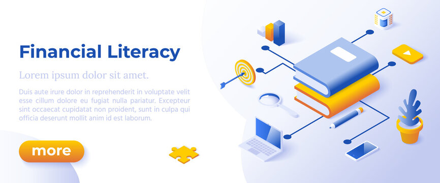 FINANCIAL LITERACY - Isometric Design in Trendy Colors Isometrical Icons on Blue Background. Banner Layout Template for Website Development
