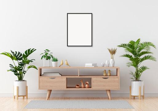 Sideboard in white living room for mockup, 3D rendering