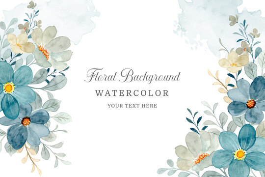 Blue gray floral frame. Watercolor flower abstract background