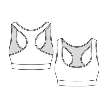 Women Sports Bra fashion flat sketch template. Girls Active wear Technical Fashion Illustration