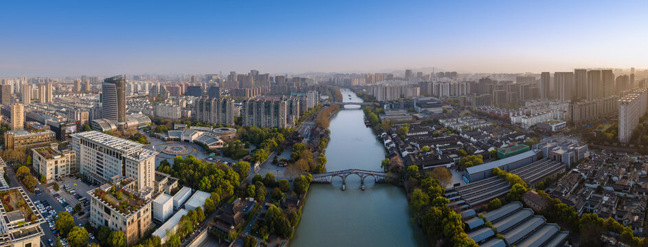 Aerial photography of the ancient buildings of the Gongchen Bridge in Hangzhou