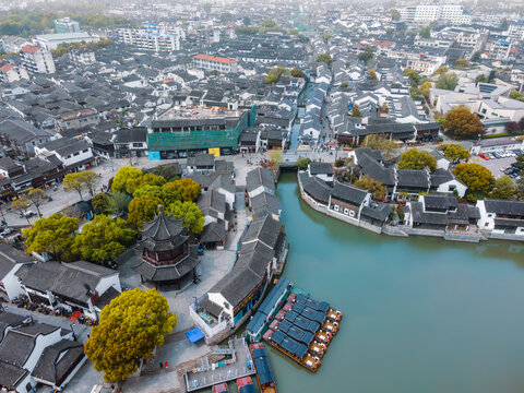 Aerial photography of the old wharf in Shantang Ancient Town, Suzhou