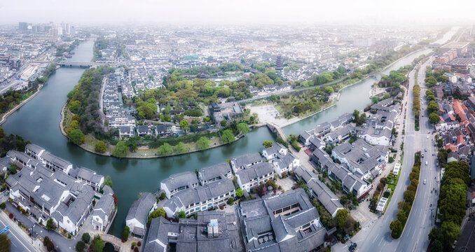 Aerial photography of Suzhou Panmen old wharf complex