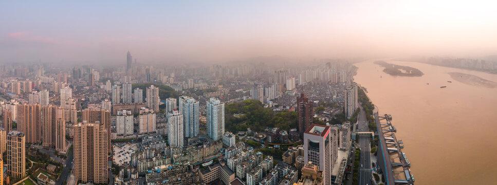 Aerial photography Wenzhou city architecture landscape skyline