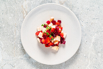 fruit salad on the white plate