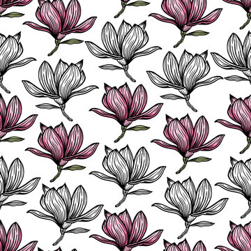 Pattern seamless with black magnolia outline. Spring flower hand drawn vector illustration. Black and white with line art on white backgrounds