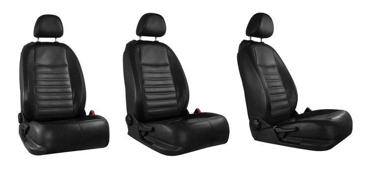 Black car seat isolated on white background