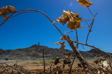 Fototapeta Faro en la montaña con naturaleza muerta por la sequia obraz