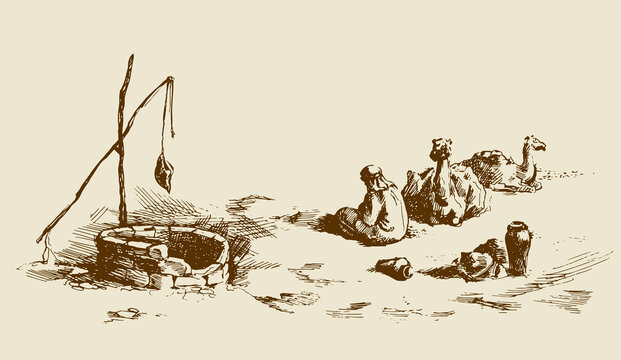 Man and camels at withered well in desert. Vector drawing