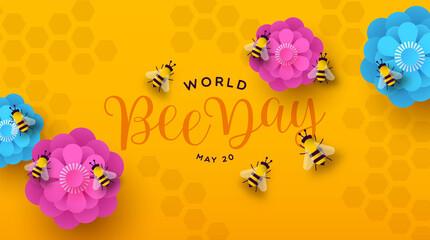 Fototapeta World Bee Day paper cut flower spring banner